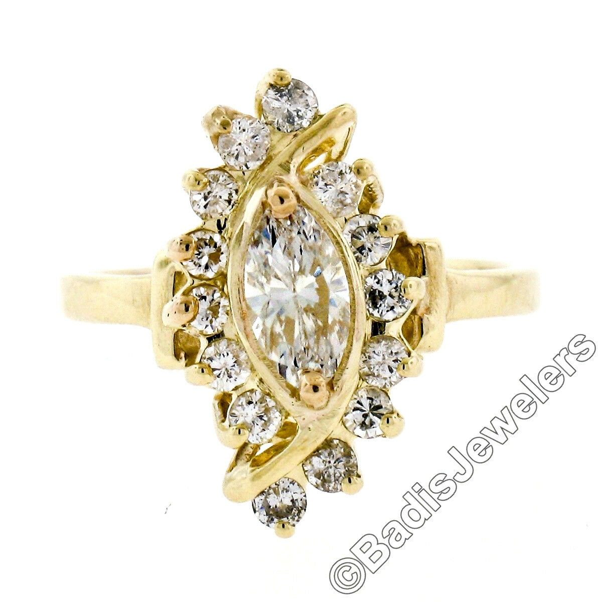 Solid 14K Yellow gold 0.83ctw Marquise Cut Solitaire Diamond Halo Bypass Ring