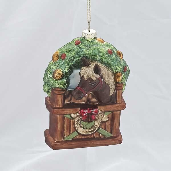 Horseshoe Christmas Tree For Sale.Holiday Ornaments Horse In Stable Ornament Horseshoe Christmas Barn Pony J1297