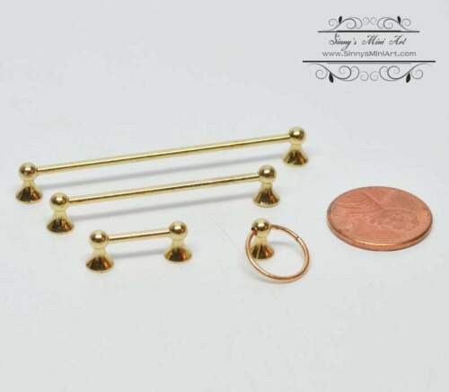 Brass 4PC HH AZ T8464 1:12 Dollhouse Miniature Towel Rack Set