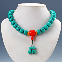 Chinese Old Turquoise &  Red Coral Handwork Rosary Type Necklaces