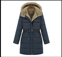 Womens Lapel Duck Down Jacket Long Hooded Slim Winter Thicken Warm Parka Coats