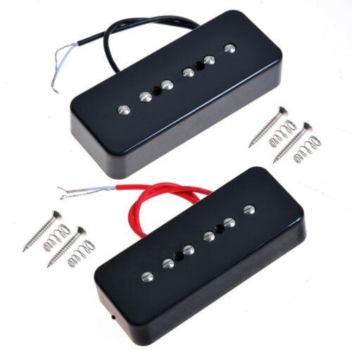 Set Of Black P90 Soap Bar Pickup Guitar Neck/&Bridge Pickup For LP Singel Coil
