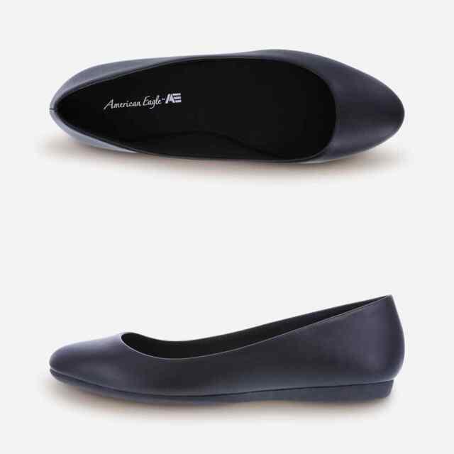 American Eagle Women/'s Amber Black Double Strap Mary Jane Flat Shoes Medium