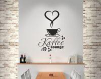 Wandaufkleber Wandtattoo Küche Bad Wohnzimmer Kaffee Tasse  Lounge Herz Cafe 34
