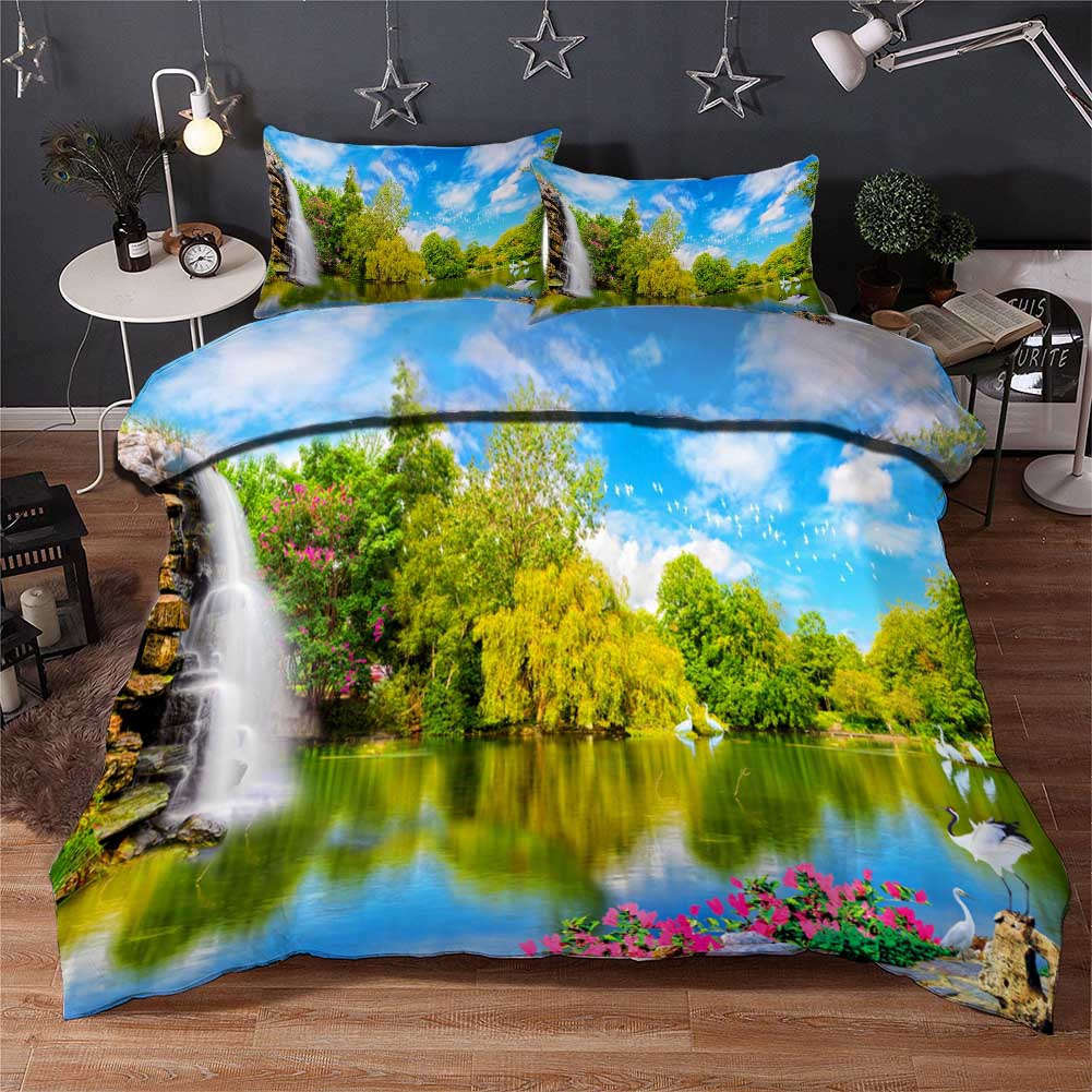 Waterfall Big Pool 3D Printing Duvet Quilt Doona Covers Pillow Case Bedding Sets
