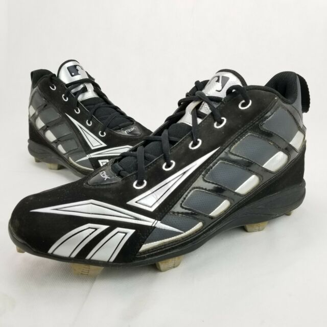 RBK REEBOK MEN S PLAY DRY High Top BASEBALL CLEATS 10.5 USED BLK SILVER RB 099398f87