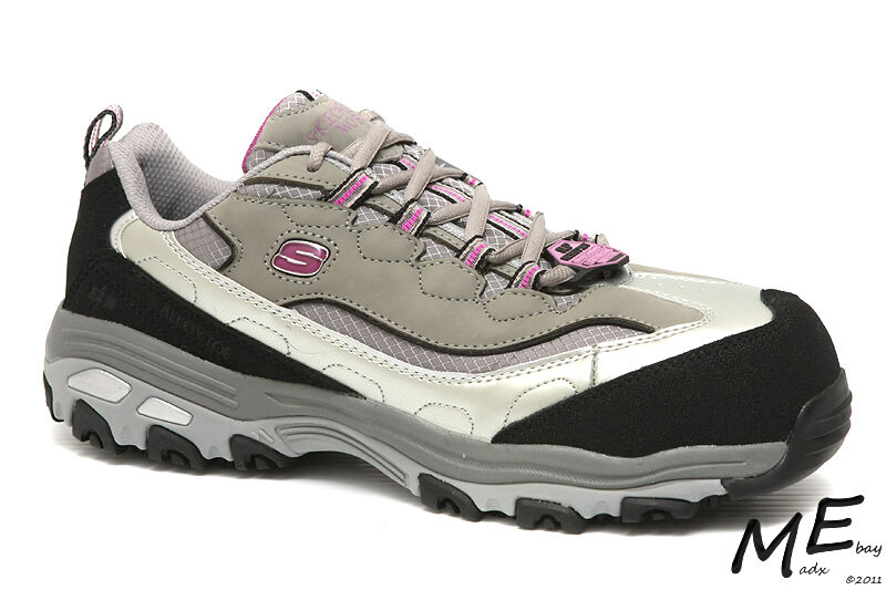 New Skechers D'lites SR Service Safety Toe Women Hiker Leather Work Boots Sz8.5