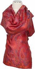 Pashmina  Schal 100% Seide, scarf Rot Orange Blau foulard écharpe soie silk