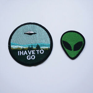2-Embroidery-Alien-Flying-Saucer-UFO-Sew-Iron-On-Patch-Badge-Bag-Jeans-Applique