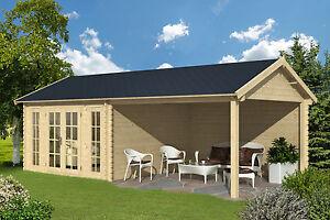 Details zu 45mm Gartenhaus 760x380 cm Blockhaus Gerätehaus Holzhütte Holz  Veranda Holzhaus