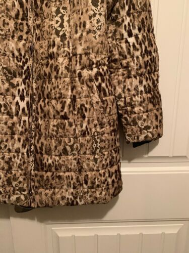 X-Small Tan Dennis Basso Printed Water Resistant Jacket with Faux Fur Collar