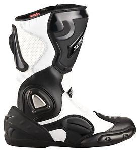 Motorradstiefel-Racing-Boots-Touringstiefel-von-XLS-schwarz-weiss-Gr-37-bis-47