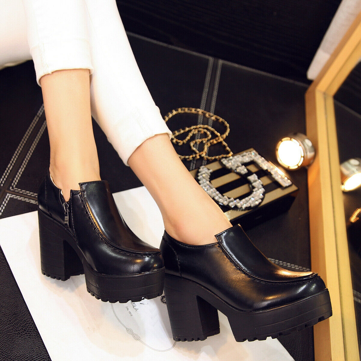 Women Ladies British Style Pumps Platform Block Heel Side Zip Solid Casual shoes