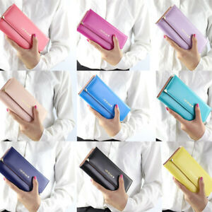 Fashion Leather Long Wallet Trifold Clutch Card Phone Holder Purse Handbag EV