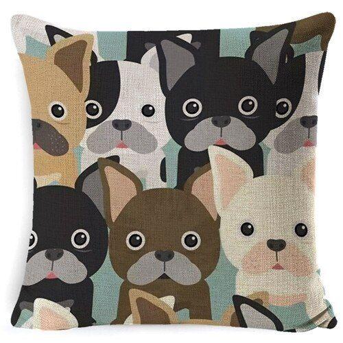 Hippie Pug Dog Cushion Cover Animal Cartoon Pillow Case For Kids Cute Bulldog
