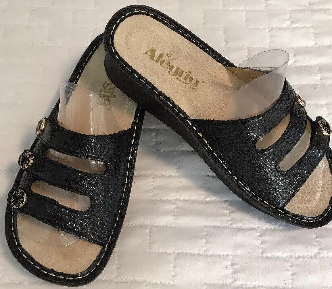 New Algeria  Fiona Fiona Fiona Black Leather Slides Sandals FIO-211 Womens Size 36 Reg US 6 5f1ea4