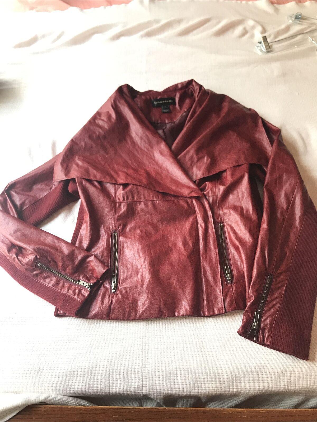 Bagatelle, Red Draped Open-Front Faux Leather, Women's Jacket Coat, Size L