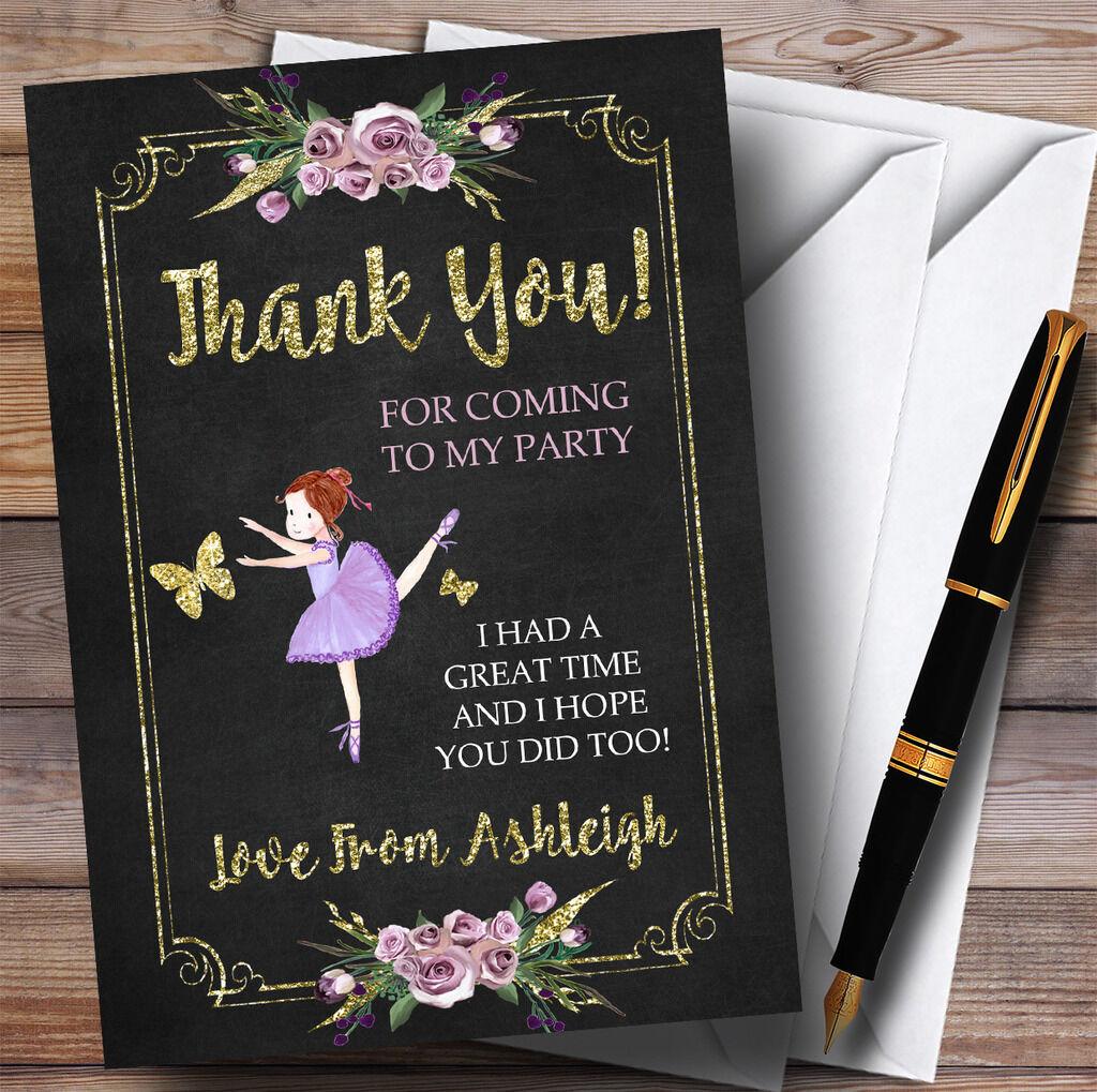 Chalk & Gold Ballerina Ballet Party Thank You Cards