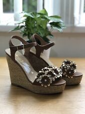 88da276a043 Dune Head Over Heels Tan Flower Wedge Sandals Summer Woven Heel Size 5 EUR  38