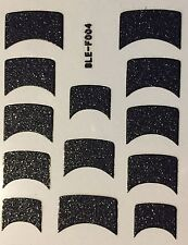 Nail Art Decal Stickers Black Glitter Nail Tips