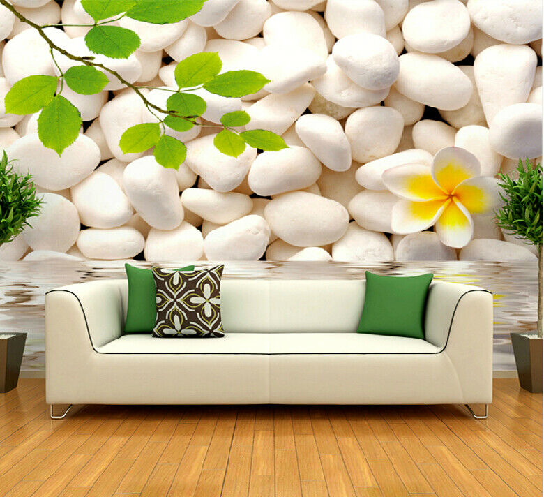 3D Weiße SteinBlaumenblätter 84 Tapete Tapete Tapete Wandgemälde Tapete Tapeten Bild Familie DE | Ich kann es nicht ablegen  | Kunde zuerst  |  0f44e7