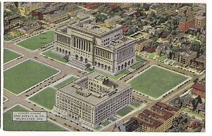 COURT-HOUSE-SAFETY-Police-Building-Milwaukee-Wisconsin-LINEN-Postcard-WI-1950