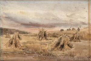 WHEATSHEAVES-ON-FARM-LANDSCAPE-Antique-Watercolour-Painting-c1920-SIGNED
