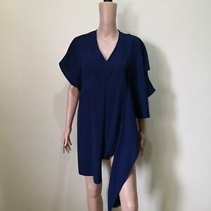 C806-NB-Blue-Semi-sheer-Asymmetrical-Long-Top-with-Fabric-Accent