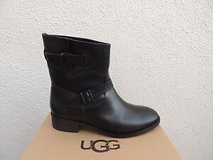 3ac7b40043c Details about UGG FLETCHER BLACK WATER-RESISTANT LEATHER ANKLE BOOTS, US  9.5/ EUR 40.5 ~NIB