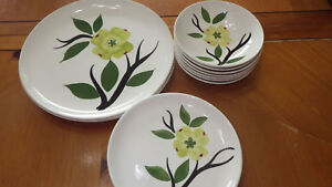 Vintage-Dinnerware-Handpainted-Floral-Design-USA-Canonsburg-pottery-18pcs-euc