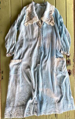 Vintage Edwardian 1910s Blue Crinkle Cotton House