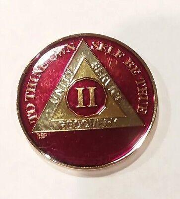 Rich Mandarin Red Enamel 18th Chip XVIII 18 Year AA Sobriety Coin Medallion