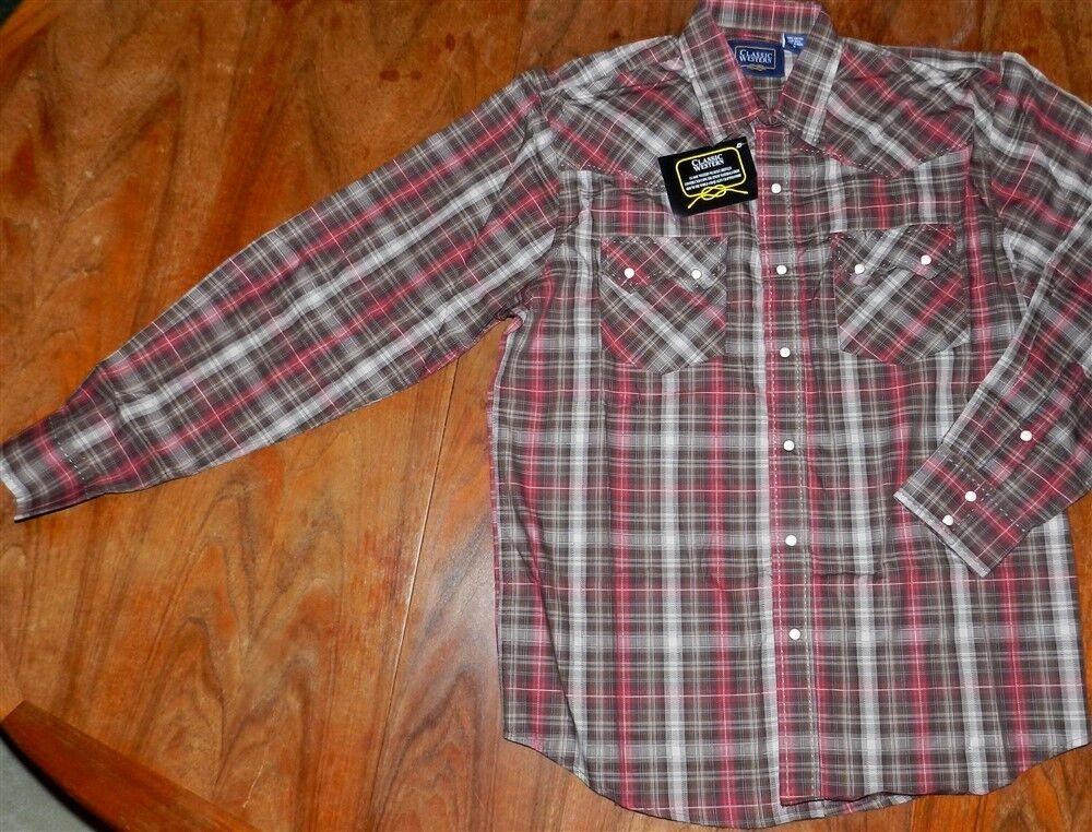 Western Shirt Brown Plaid Classic Western Mens size Medium New