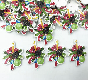 Christmas Decoration Wooden Buttons Sewing Handicrafts Scrapbooking