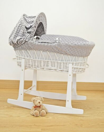 Reborn Baby Dimple Moses Basket Covers 4 Piece Set Inc Quilt,Skirt,Hood /& Sheet