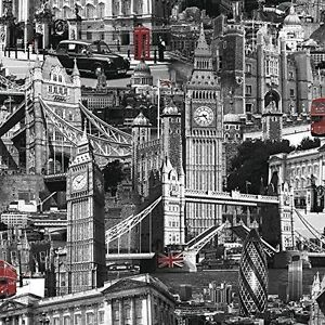 London City Scene Black White Red Muriva Feature Designer Wallpaper