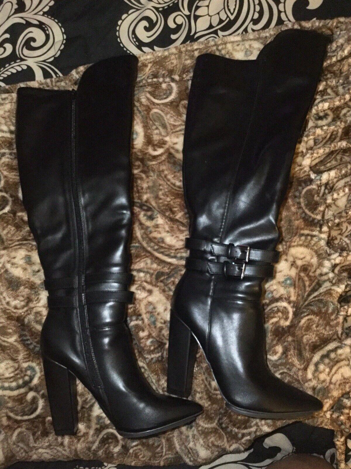 Offriamo vari marchi famosi Felicity nero Leather Knee Knee Knee High stivali,Dimensione 7.5 Heeled  a prezzi accessibili