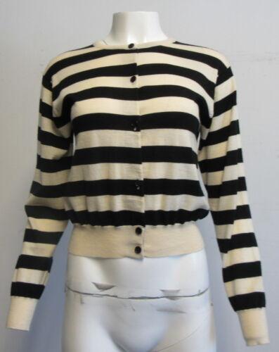 Paul L Black Smith Ivory Sweater Cardigan Uld Stripet Sz Sort rr4qzR