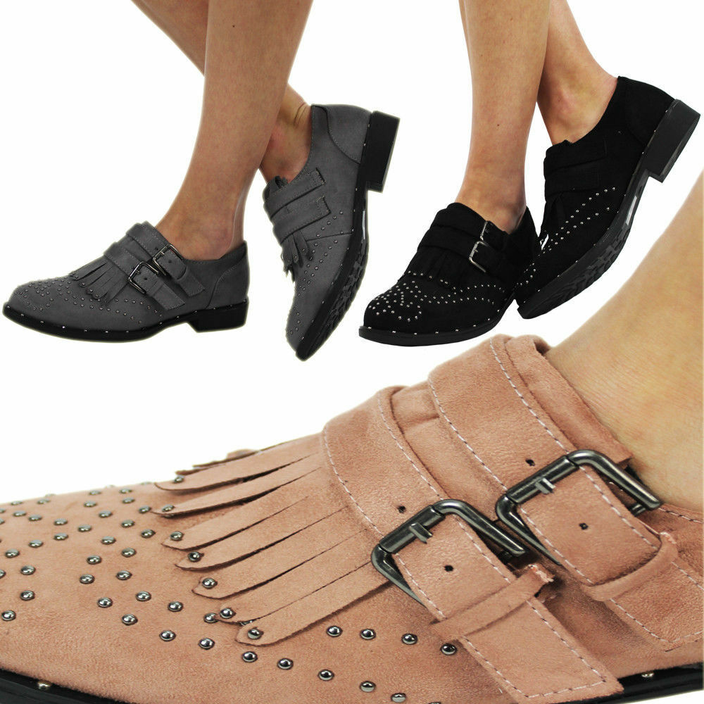New Ladies Women's Flat Brogue Studs Dolly Loafer School Work Office Girl Shoes