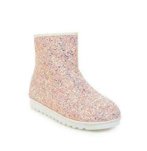 Womens Glitter Winter Snow Boots Pull On Anti-skid Sequin Low Heel Ankle Shoes