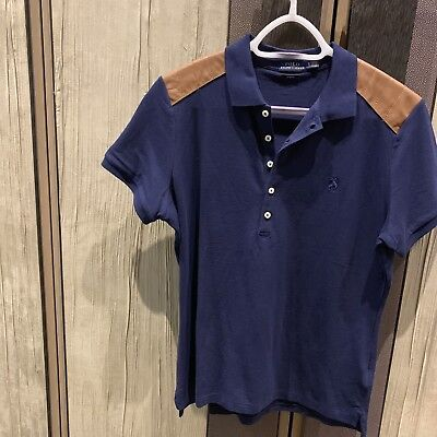 ShouldersEbay Polo Size Xl Ralph Blue Women's Fit Shirt Lauren Uk Slim Leather T SzpqMUVG