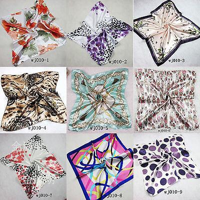 Fashion Lady Silk Satin Square Leopard Dot Head Neck Scarf Wrap Tie Neckerchief