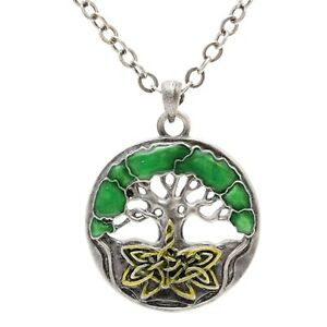 Celtic-Endless-Knot-Tree-of-Life-Pewter-Necklace-Pendant-Jewelry-J131