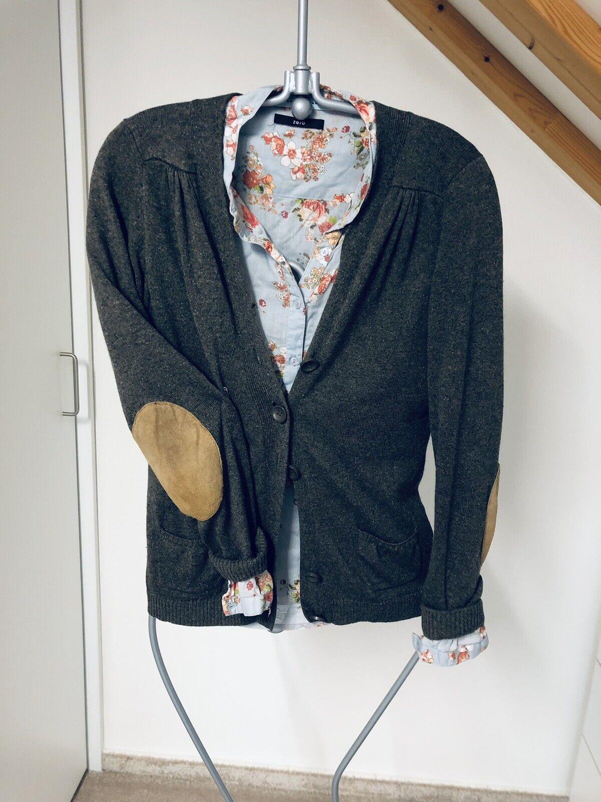 *ZERO* Bluse + Strickjacke Blumenmuster blau braun Gr.34/36 * TOP *