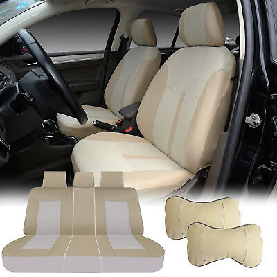 2 Pillows Compatible to Toyota 860-2 Gray 2 Front Car Seat Covers Fabric
