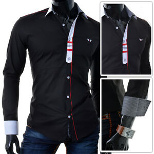 Carisma-Mens-black-Shirt-Red-Stitching-White-Collar-Slim-Fit-SIZE-Small-Medium