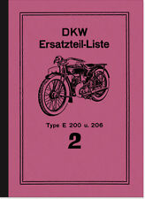 DKW E 200 und E 206 Ersatzteilliste Ersatzteilkatalog Teilekatalog E200 E206