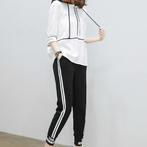 2PCS Long Sleeve Sports Suit Casual Loose Pullover Striped Pants Set Sport Wear