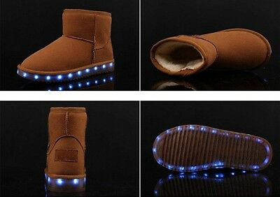 ON Kids Boys Girls Led Light up Winter Shoes Luminous USB Charging Fur Lined Snow Boots Gifts Brown