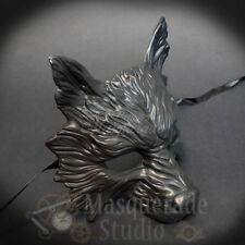 Matte Black Wolf Half Mask Adult Animal Angry Dog Venetian Costume ...